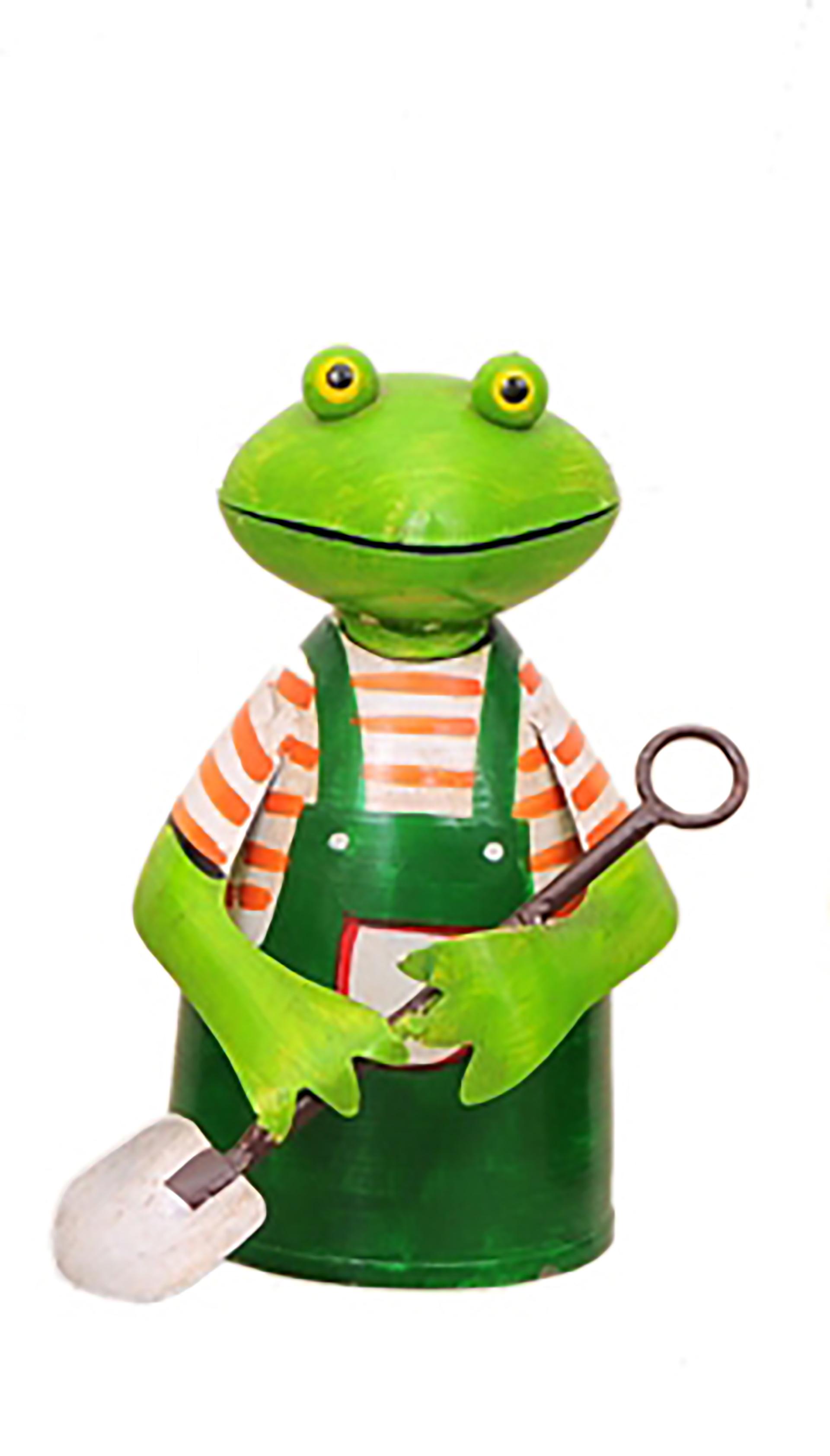 Zaunhocker Frosch Gärtner mit Schaufel