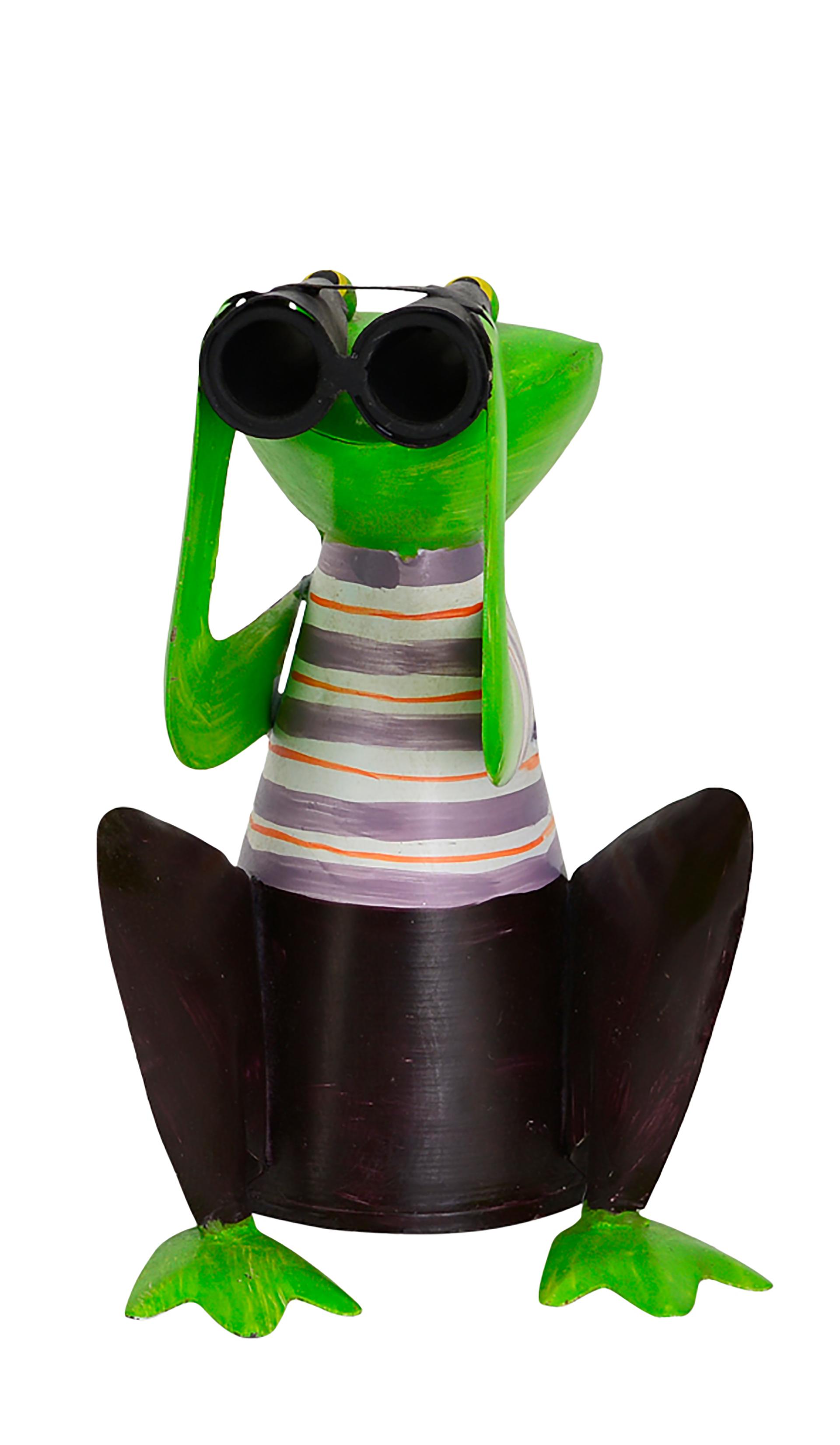 Zaunhocker Frosch hockend mit Fernglas, Streifen lila