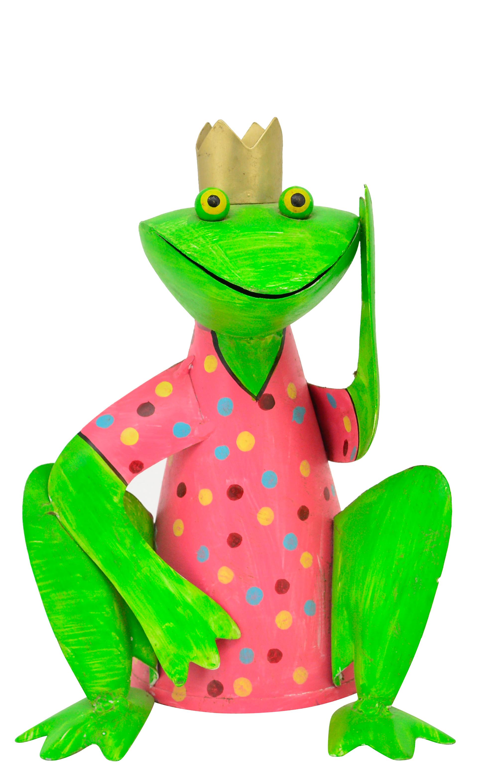 Zaunhocker Frosch hockend mit Krone, rosa mit Punkten