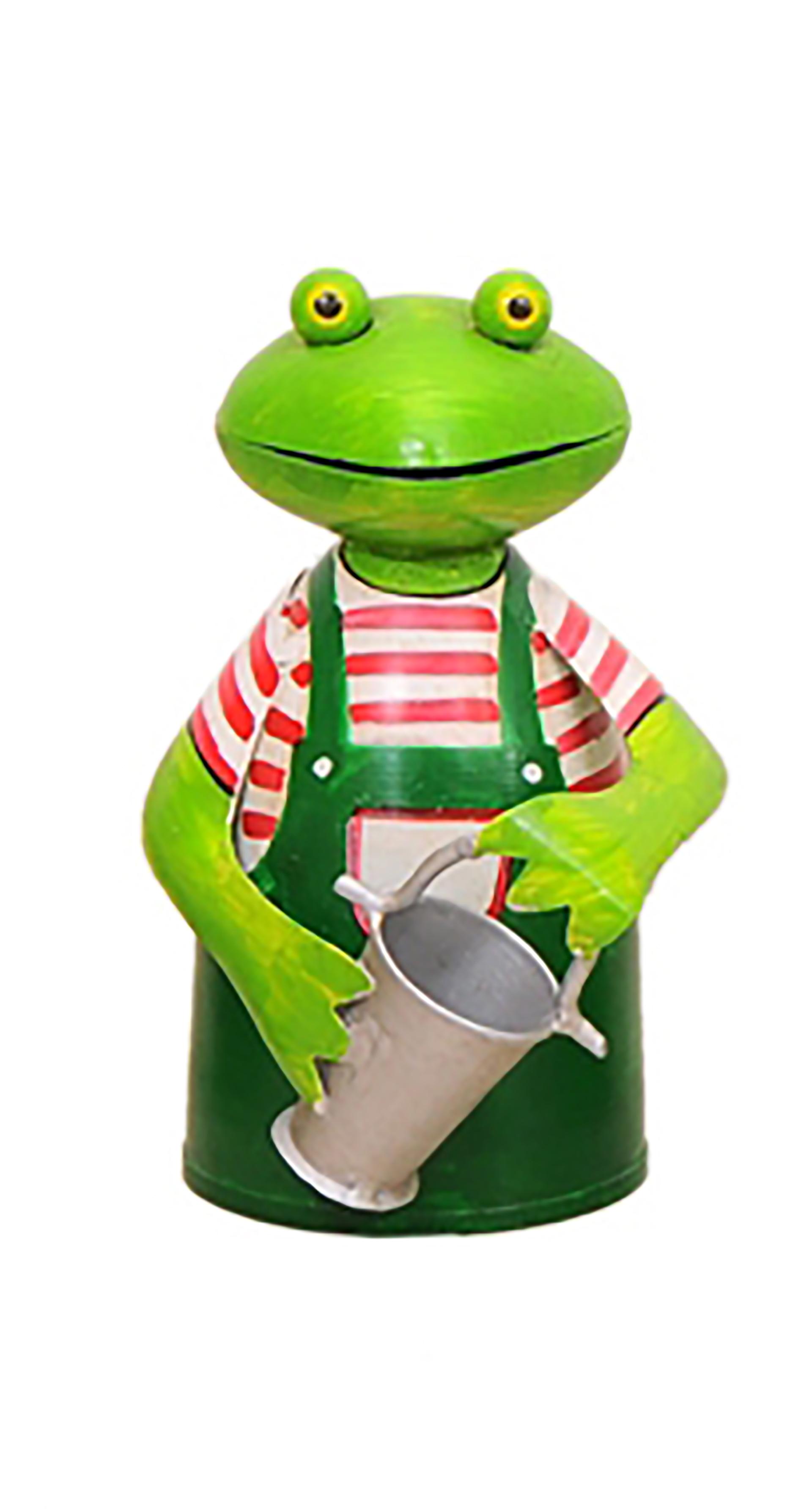 Zaunhocker Frosch Gärtner mit Eimer