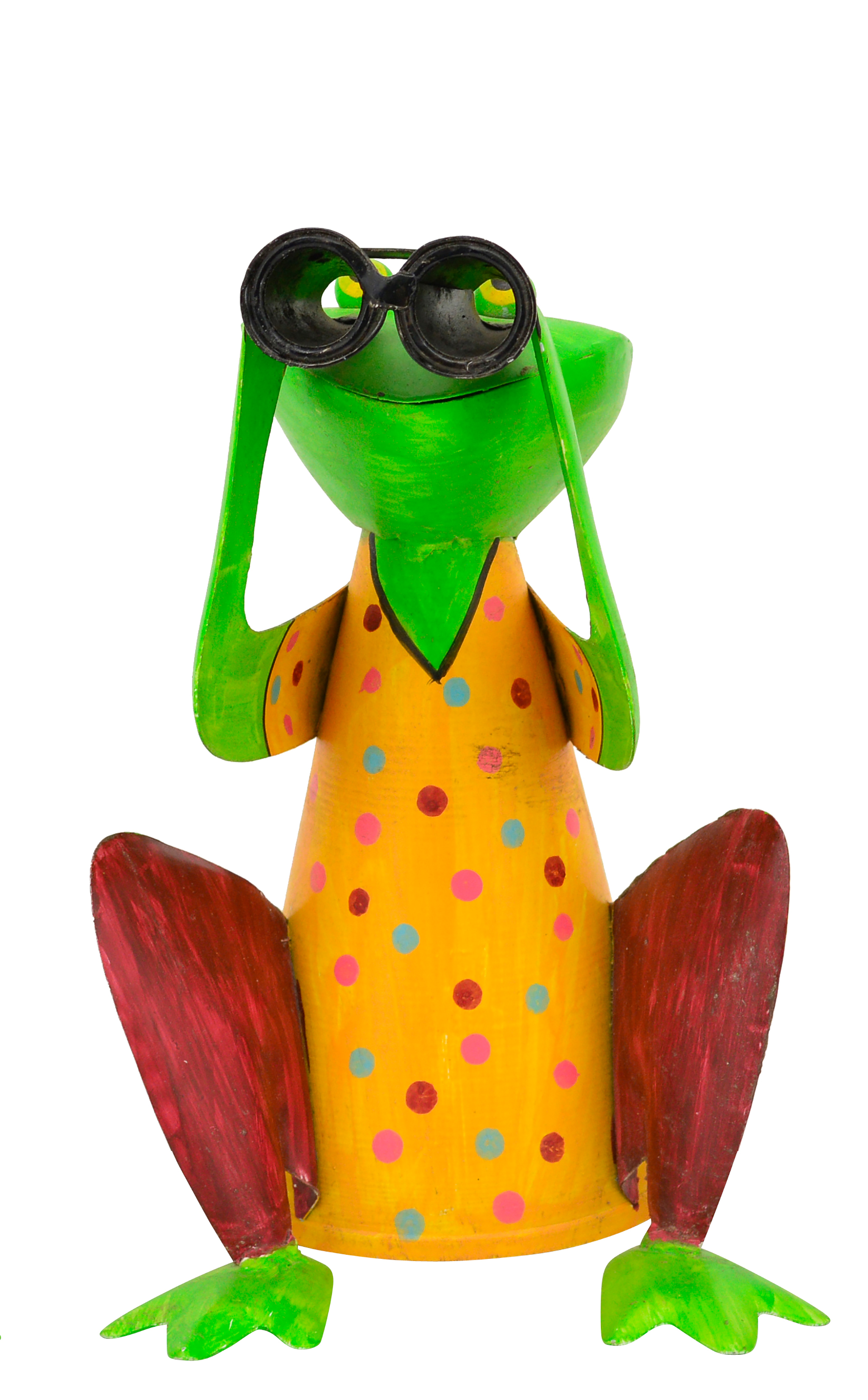 Zaunhocker Frosch hockend mit Fernglas, gelb mit Punkten