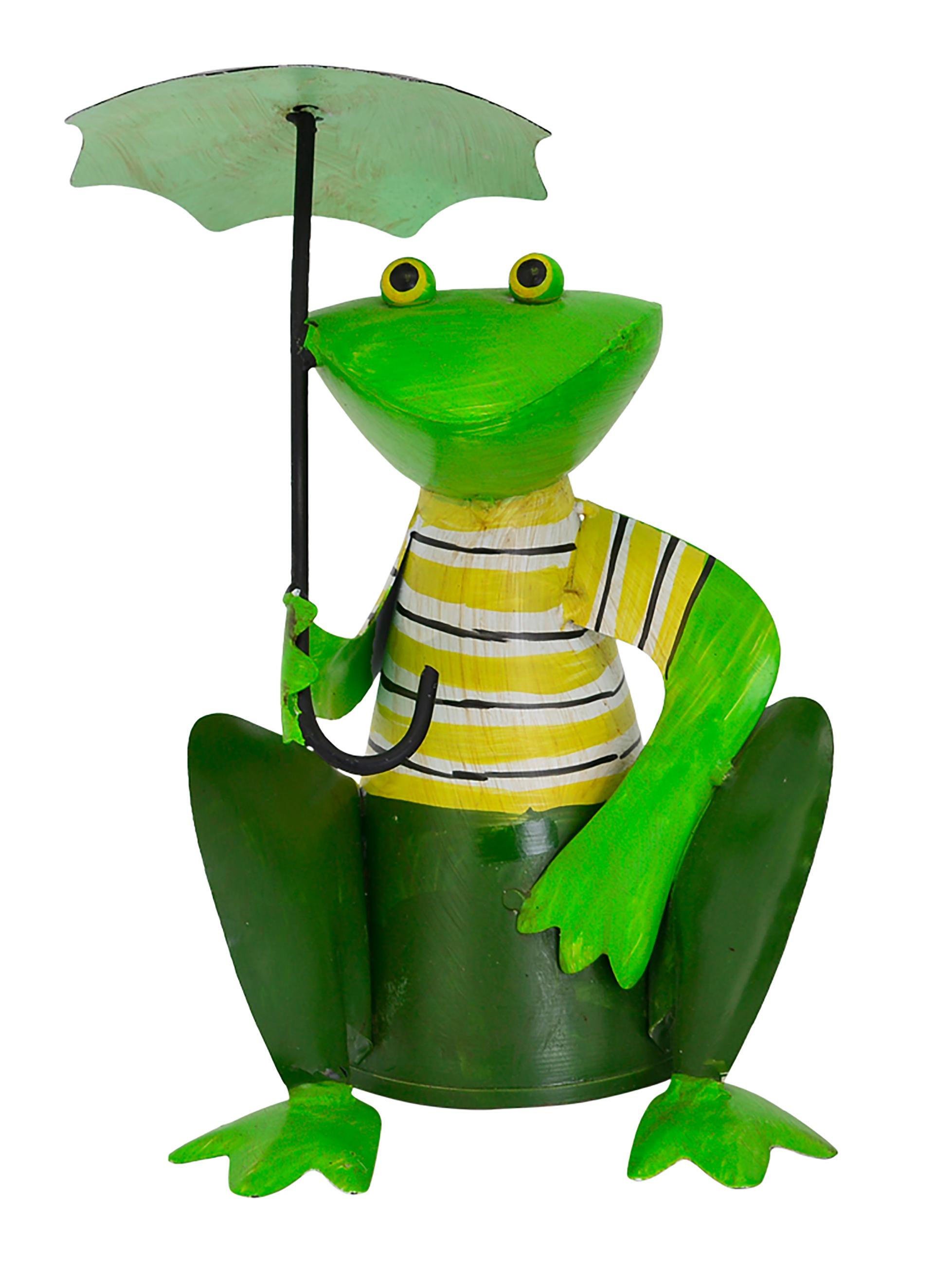 Zaunhocker Frosch hockend mit Schirm, Streifen gelb