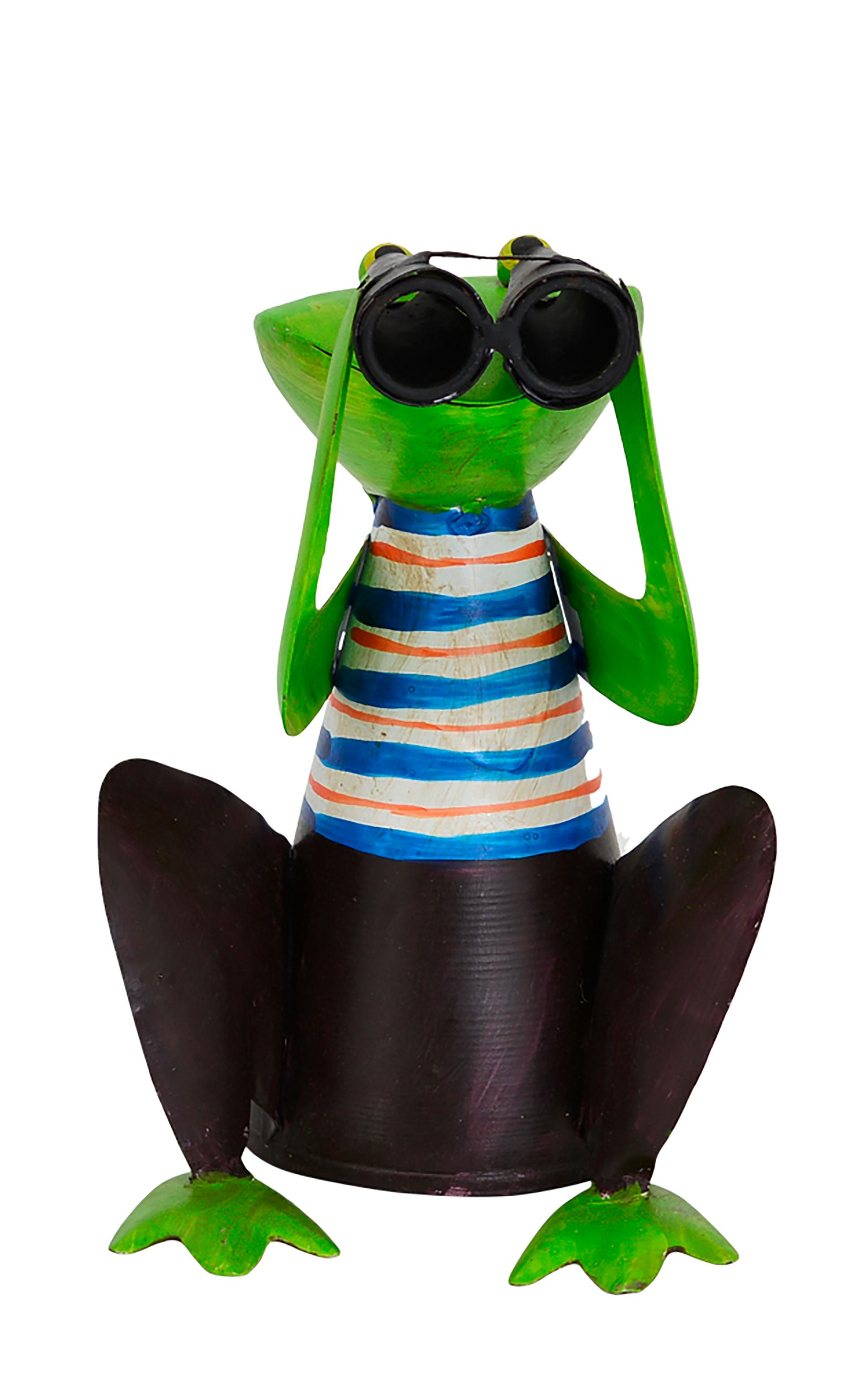 Zaunhocker Frosch hockend mit Fernglas, Streifen blau