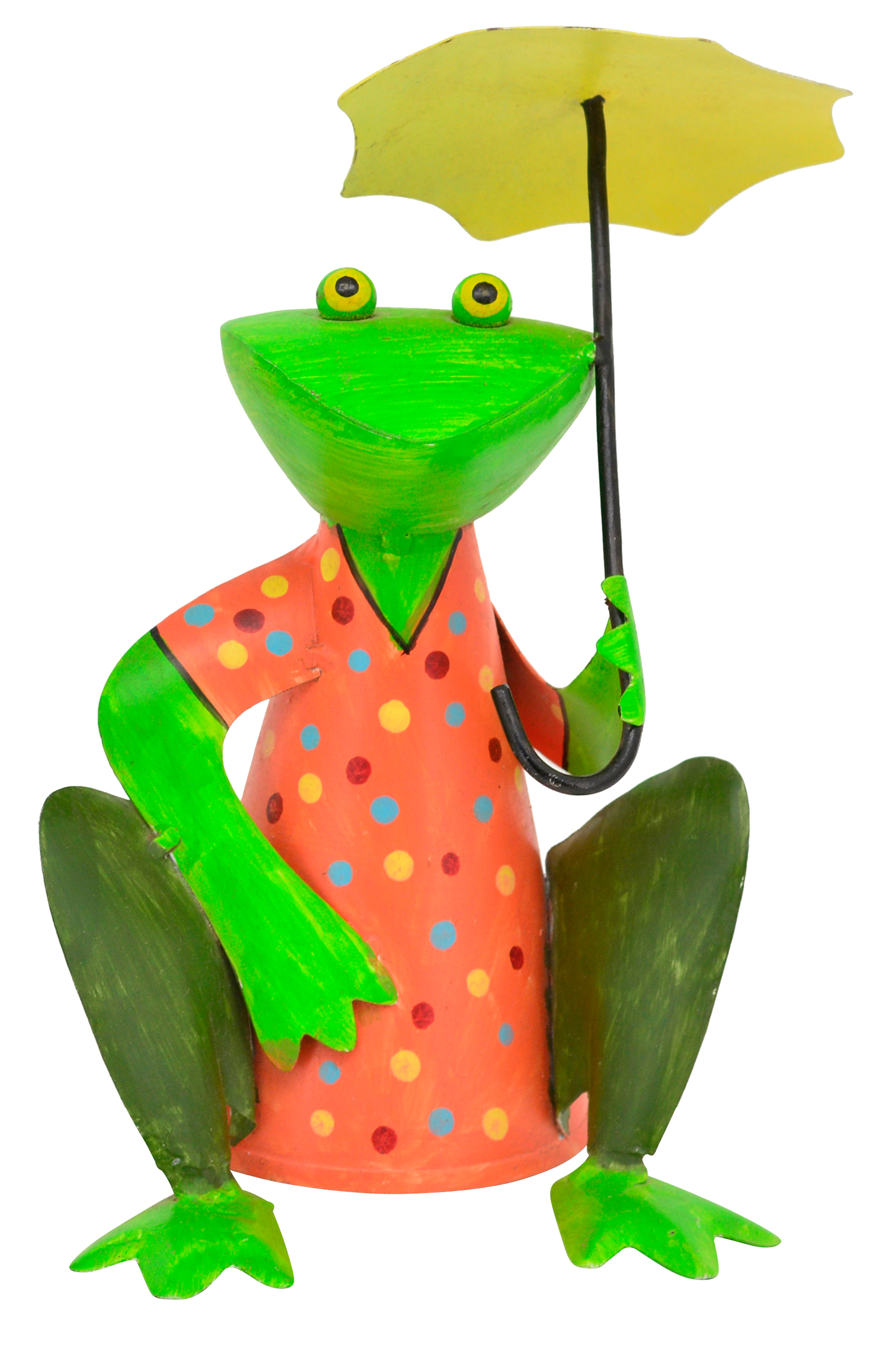 Zaunhocker Frosch hockend mit Schirm, orange mit Punkten