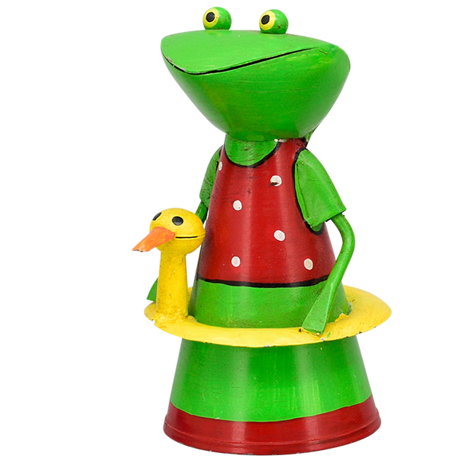 Zaunhocker Frosch - rot mit Punkten; Rettungsring gelb mit Ente