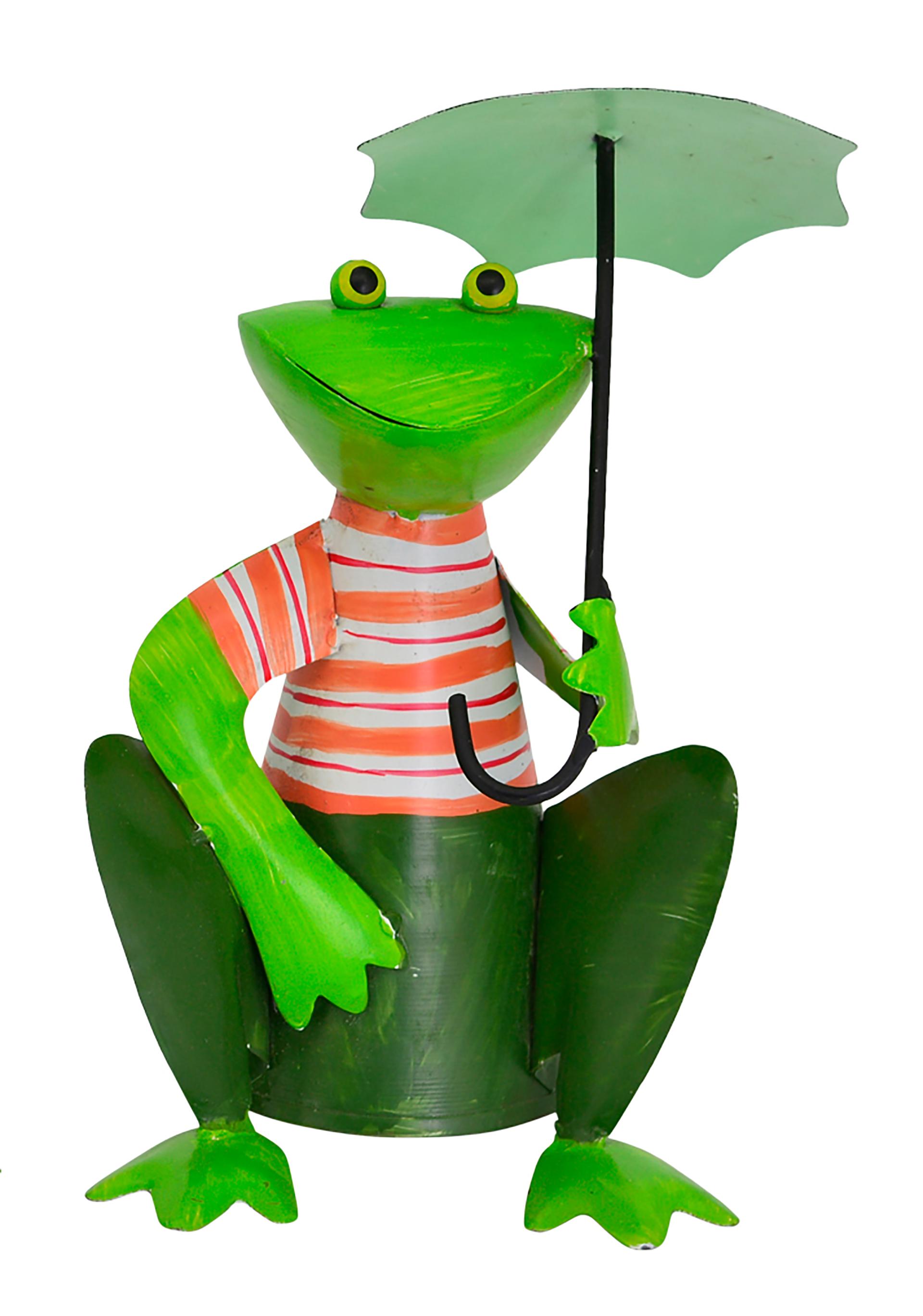 Zaunhocker Frosch hockend mit Schirm, Streifen orange