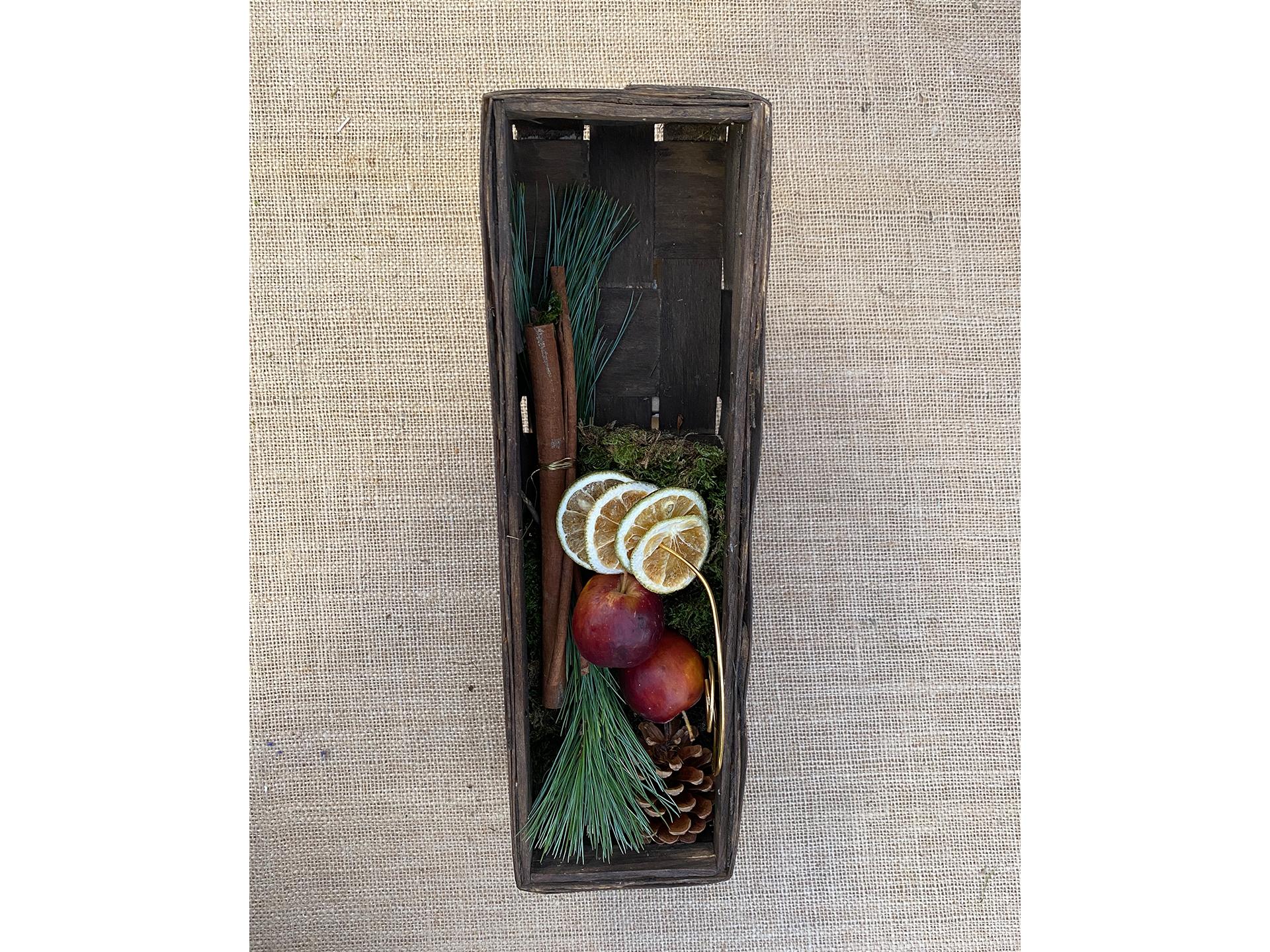 Holzkiste mit Weihnachtsdeko klein (ohne Inhalt)