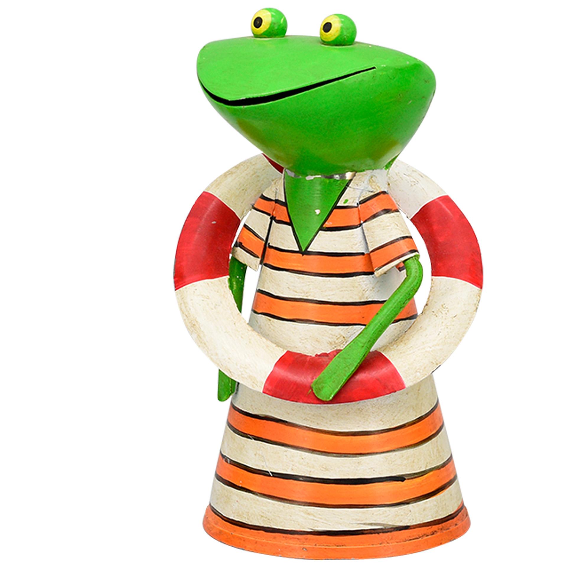 Zaunhocker Frosch - Streifen orange-weiß; Rettungsring rot-weiß